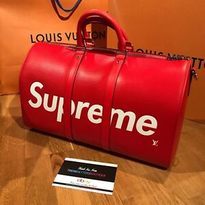 ffea8a20b31 LOUIS VUITTON x SUPREME KEEPALL 45 DUFFLE BAG RED LV MONOGRAM M53419 ...