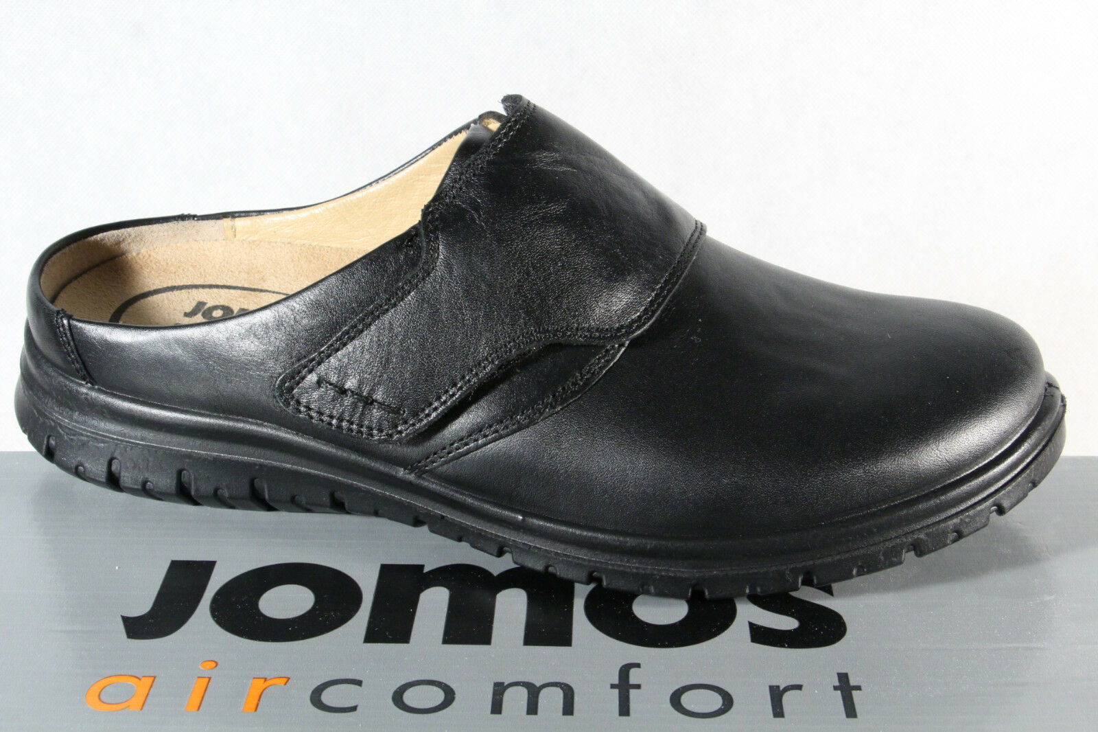 Jomos Women Clogs Sabot Mules Slippers Leather Black Width H New