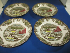 """Set of 4 Johnson Bros Friendly Village """"The Ice House"""" Saucers 5 1/2"""""""