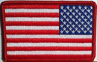 United States Left Flag Military Patch With Velcro® Brand Fastener Red Border