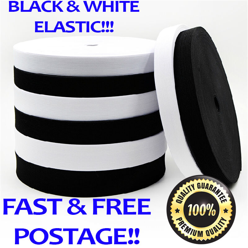 High Quality Flat Black White Strong Woven Elastic Sewing Dressmaking 12-50mm