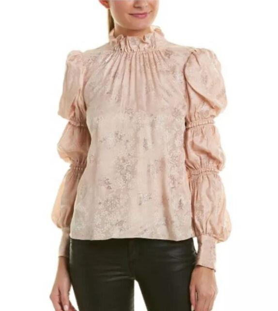 6 Snow Rebecca Taylor Rose Silk Blend Cloque Blouse