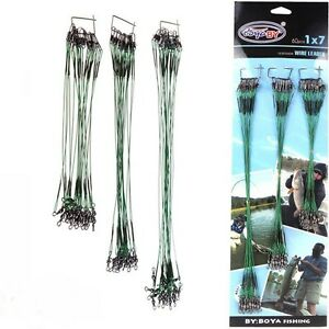 20PCS-Rolling-Swivels-Safety-Snap-Traces-Cables-de-acero-Senuelos-de-pesca-Hook