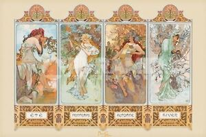 Alphonse Mucha 4 Seasons Art POSTER 61x91cm NEW * Spring ...