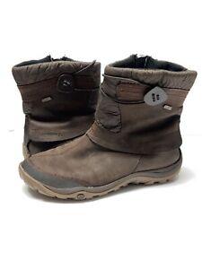 Merrell-Women-039-s-10-Dewbrook-Zip-Waterproof-Insulated-Winter-Boots-Leather-Brown