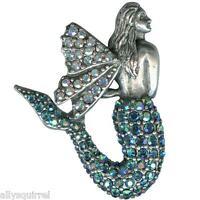 Kirks Folly Sea Dream Sparkle Mermaid Pin Silvertone