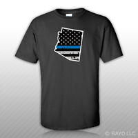 Distressed Thin Blue Line Arizona State Shaped Subdued Us Flag T-shirt Tee Shirt