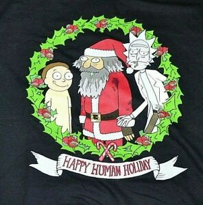Rick And Morty Christmas.Details About Rick Morty Happy Human Holiday Christmas T Shirt Adult Tee