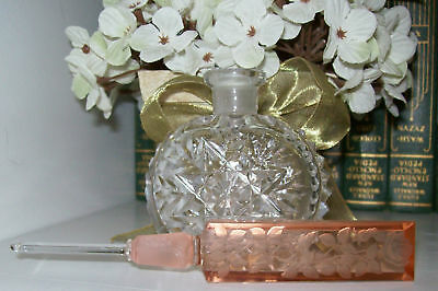 """Vintage Czech Perfume Bottle-Dauber Intact-Signed-5.75-""""Tall~Highly Collectible"""