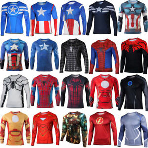 Men-Superhero-Marvel-Compression-T-Shirt-Long-Sleeve-Tops-Cycling-Blouse-Tee-SML