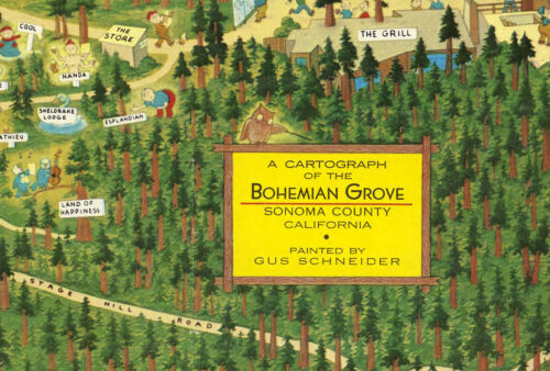 Pictorial Map Bohemian Grove Sonoma County California Wall Art Poster Print