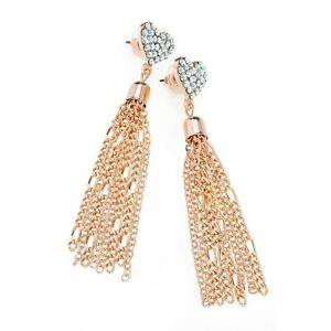 Ladies-Rose-Gold-Coloured-Heart-Design-Chain-Earrings-Fashion-Jewellery