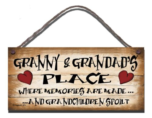 SHABBY CHIC FUNNY WOODEN SIGN  GRANNY AND GRANDADS PLACE  GIFT PRESENT GRANNY