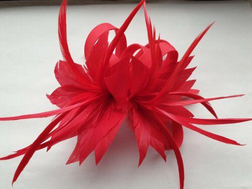 Beautiful Red Feather /& boucle design Facinator Mariage//075
