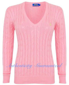 5ec02ae97 Ralph Lauren Women s Ladies Cable Knit V Neck Jumper Pink S - XL RRP ...