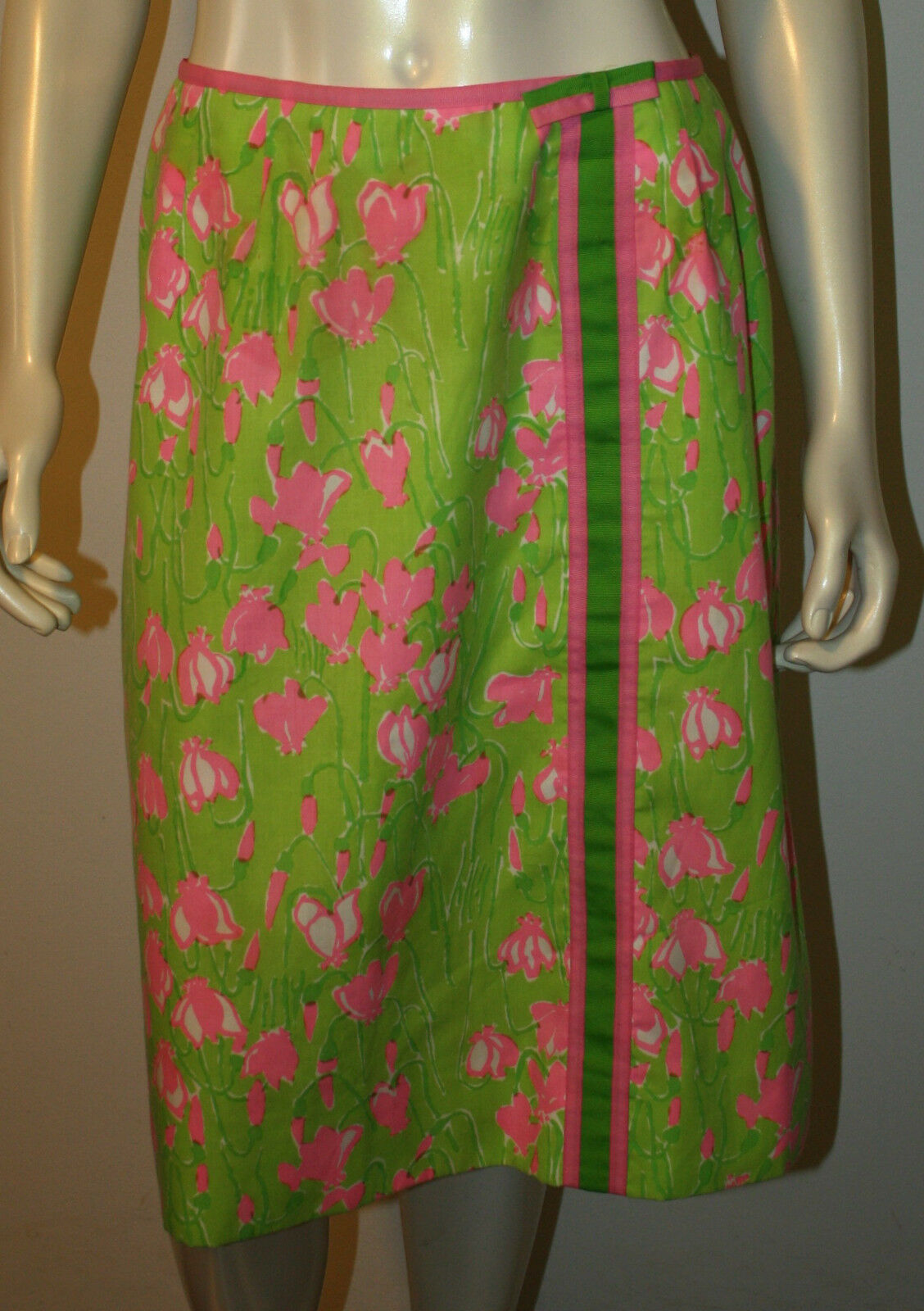 LILLY PULITZER Vintage Pink Green Snowdrop Ribbon Skirt 8 10 12 RARE