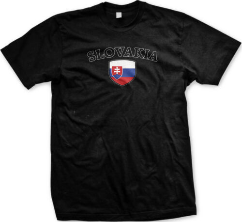 Slovakia Flag Crest Slovak National Soccer Football Pride Mens T-shirt