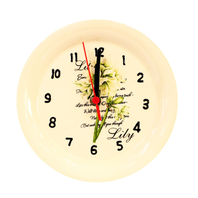 Prime Home Decoration Plate Shaped Ceramic Wall Clock With White Lily Flower Scene Download Free Architecture Designs Rallybritishbridgeorg