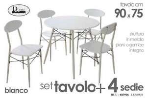 Tavolo Tondo 4 Sedie.Dettagli Su Tavolo Tondo Bianco 4 Sedie Moderno Legno Metal Cucina Giardino Terrazzo 683916
