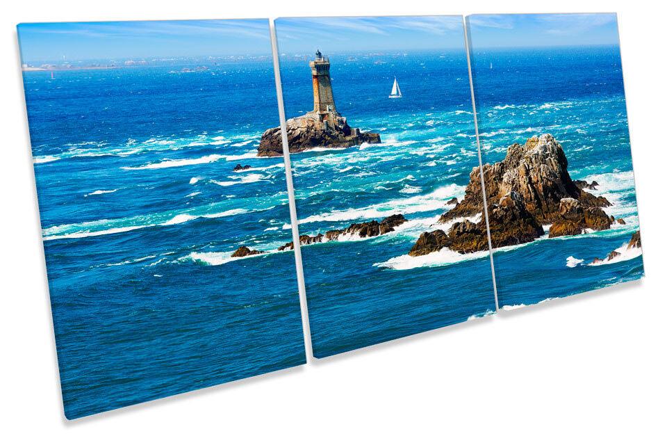 Lighthouse Pointe du Raz Picture CANVAS WALL ART TREBLE TREBLE TREBLE Print d40a31