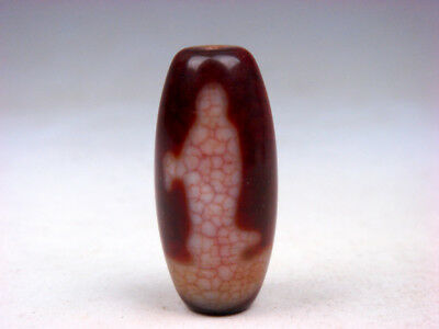 Alt Tibetisch Natürlich Achat Zinnober In Handarbeit Kwan-yin Buddha Dzi-steine