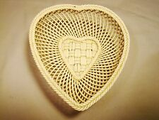 Irish Belleek Porcelain Heart Shape Hand Woven Four Strand Basket c1921-1954