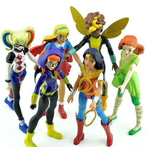 6pcs Super Eroe Ragazze la Batgirl di Wonder Woman Supergirl BAMBOLA PVC Action Figure