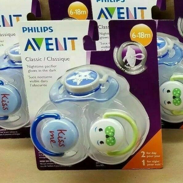 Philips AVENT Night Time Pacifier x2 Orthodontic Nipple BPA Free All Size Color