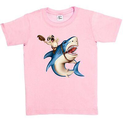 1Tee Kids Girls Pug Riding Unicorn T-Shirt