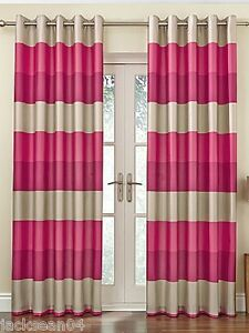 Pink And Cream Striped Curtains