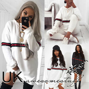 UK-Womens-Striped-Jumper-Dress-Ladies-Long-Sleeve-Pullover-Sweater-Size-6-14