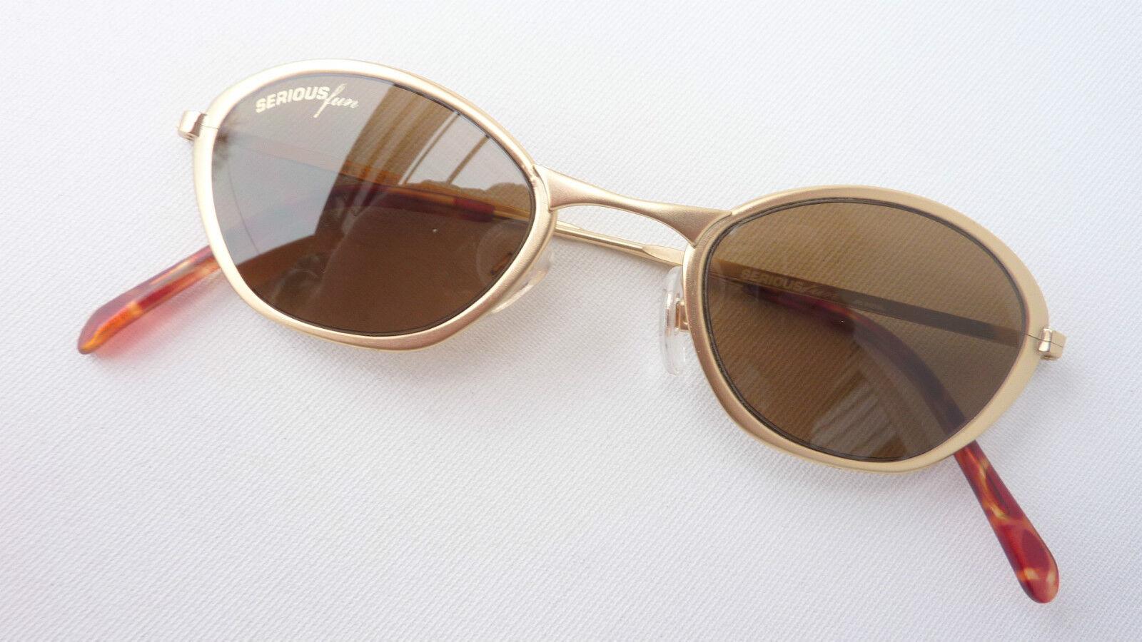 Serious Fun Damen Damen Damen Sonnenbrille Metall Goldmatt Butterfly braune Tönung Grösse M       Niedriger Preis und gute Qualität    Wirtschaft    Bequeme Berührung  5cdcc8