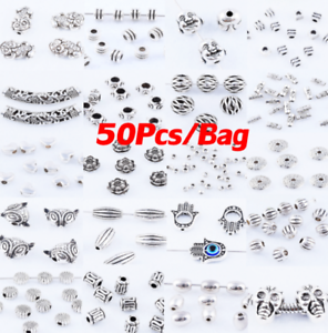 50pcs-Tibetan-Silver-Metal-Charms-Loose-Spacer-Beads-Wholesale-Jewelry-Findings