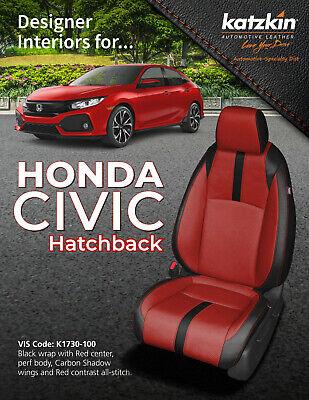 2016 2019 Honda Civic Hatchback Lx Sport Katzkin Red Carbon Leather Seat Covers Ebay