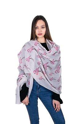 Ladies Long Flamingo Pattern Print Shawl Scarf Wrap