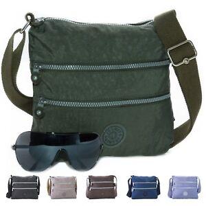 New-Multiple-Zip-Pocket-Lightweight-Fabric-Messenger-Shoulder-Cross-Body-Bag