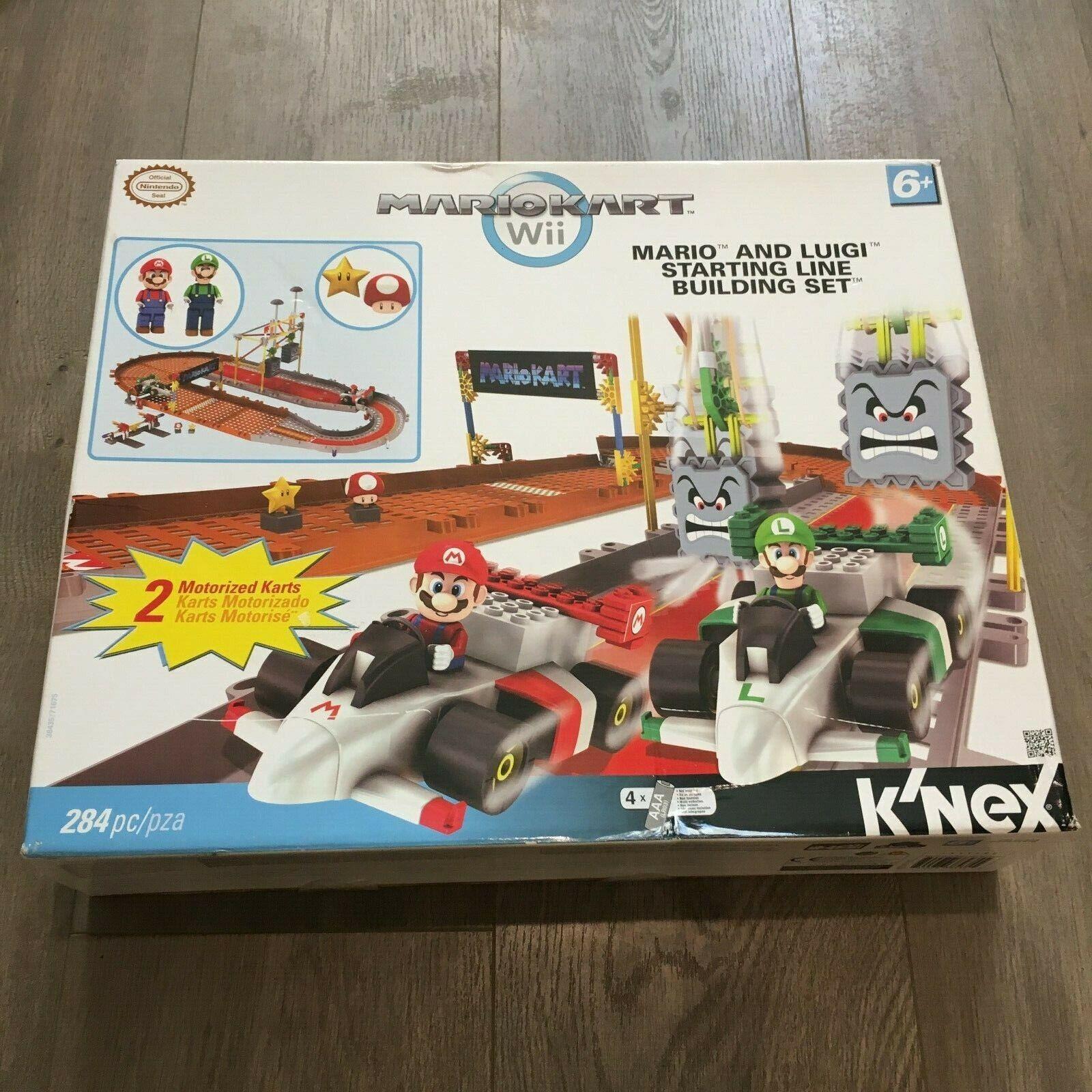 New In Box K'NEX MarioKart Wii Starting Line Mario & Luigi Building Set Videogam