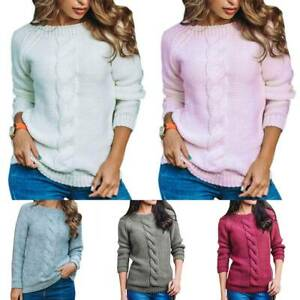 Women-Chunky-Knit-Long-Sleeve-Sweater-Top-Casual-Pullover-Crewneck-Jumper-Blouse