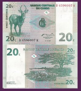 Congo P83a,20 Centimes,Antilope Buck / Upemba National Park - Siehe UV Bild UNC