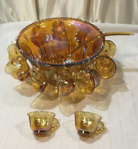 Vintage-Indiana-Glass-Gold-Carnival-Iridescent-Harvest-Grape-Punch-Bowl-Set