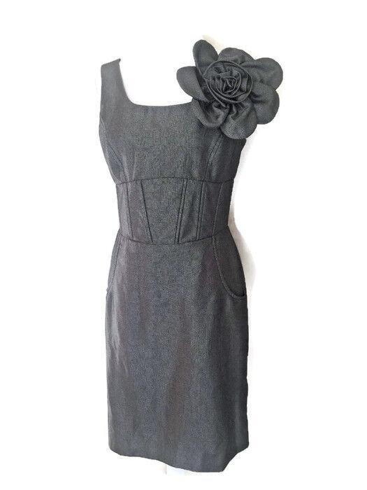 Nue by Shani Womens Size 8 Sleeveless Zipper Grey Dress w  Bow