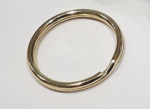 KEYRING Ring Gold LARGE Keychain Pendant Chain Double Loop Split 30mm 1-300 UK !