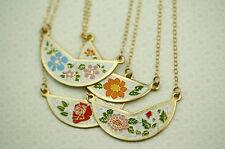 Vintage Bib Necklaces, Enamel Collar Choker Cloisonne, Antique Floral Boho Bib
