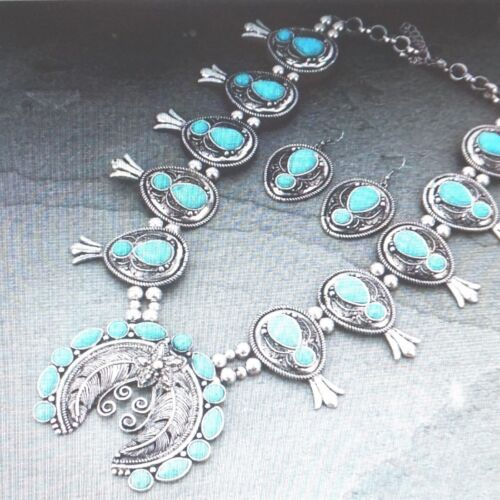 gorgeous enhanced turquoise stones squash blossom necklace /& earrings