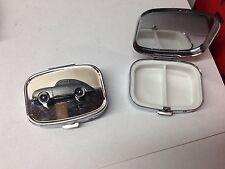 Porsche 356A ref183 pewter effect car emblem on a silver metal pill box