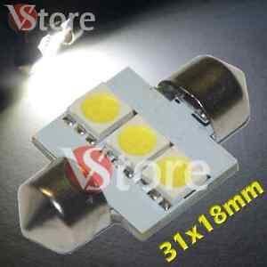 2-LED-Siluro-31mm-3-SMD-BIANCO-Lampade-Luci-Xenon-Lampadine-Interno-Targa