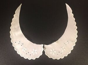 Vintage-Sewing-Collar-White-Cotton-Embroidered-Girls-Collar-7-034-x-2-034-Sewing