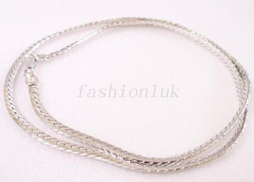 "Women Unisex Vintage White Gold Plated Snake Bone 18/"" 19 /"" Chain Necklace Length"
