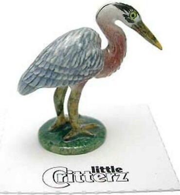Northern Rose Miniature Porcelain Bird Figure Blue Heron Standing R023