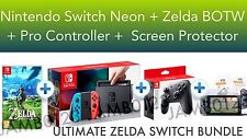 Nintendo Switch Console Neon + Legend of Zelda BOTW + Pro Controller BUNDLE